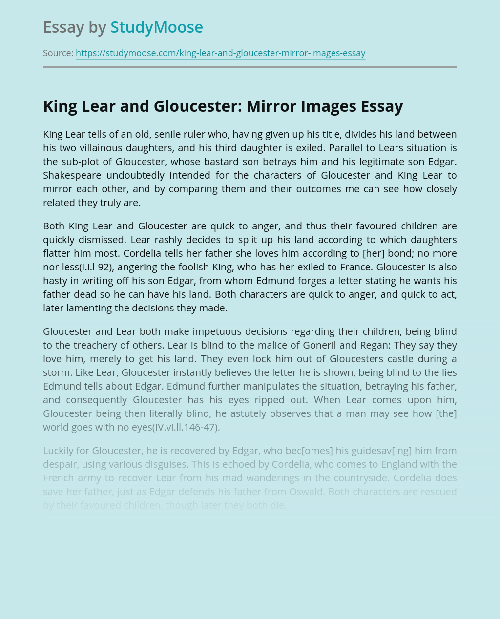King Lear and Gloucester: Mirror Images