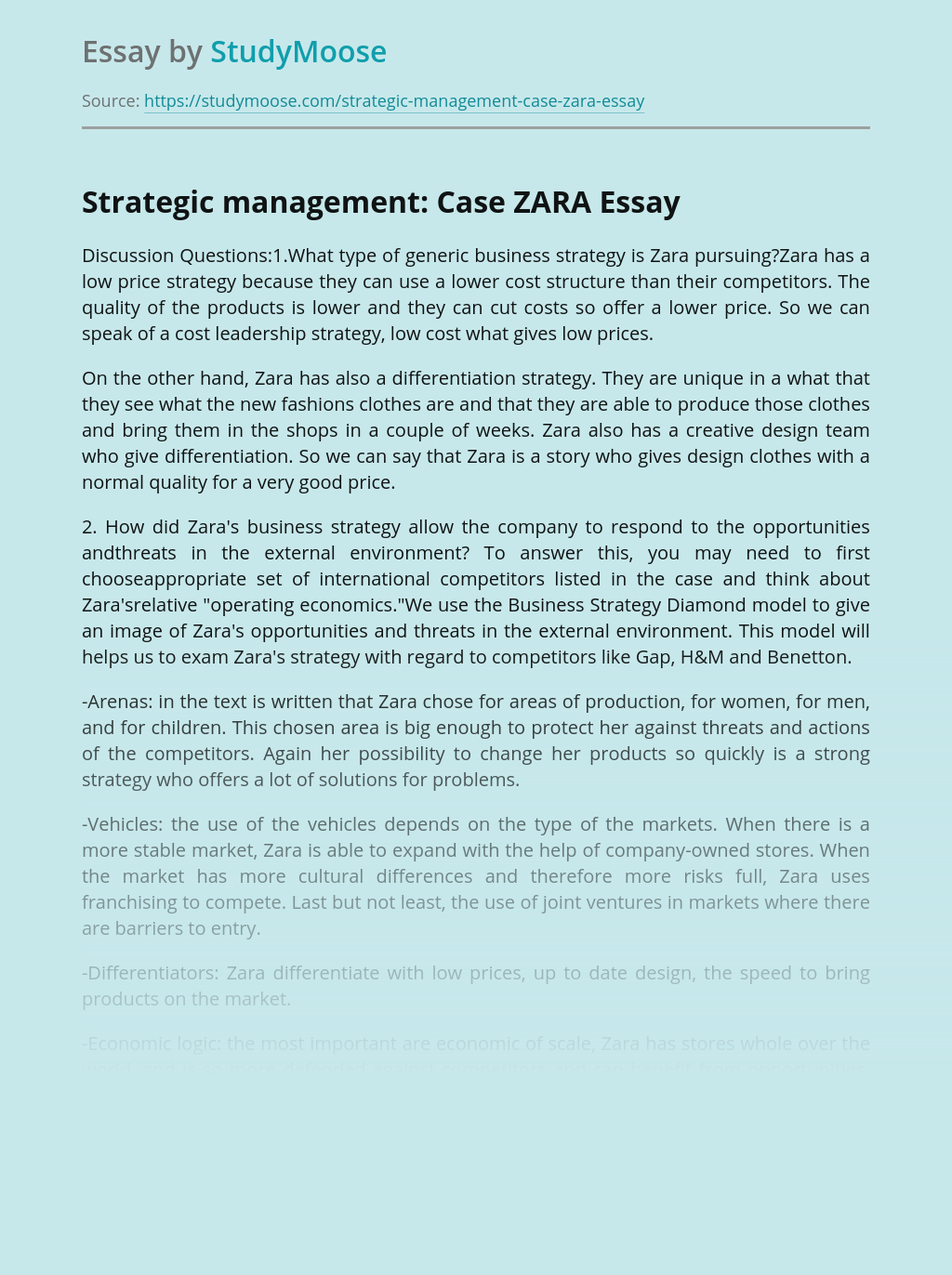 Strategic management: Case ZARA