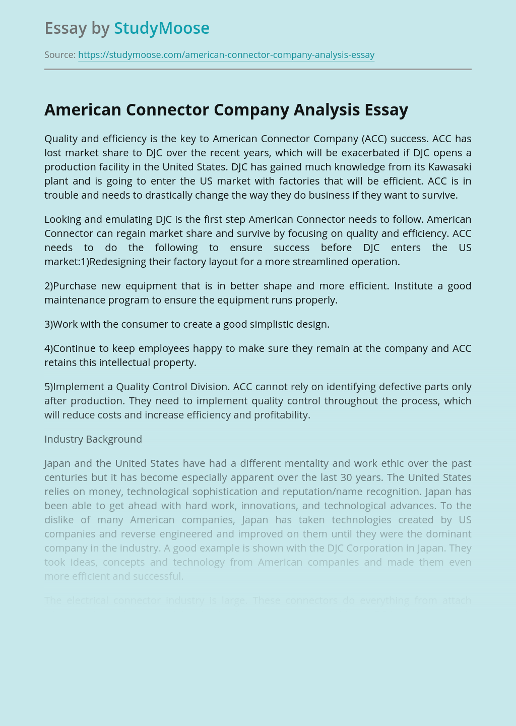 American Connector Company Analysis