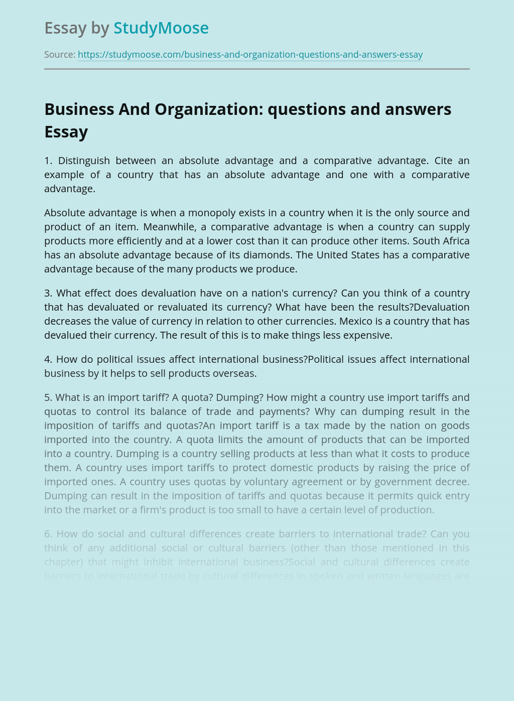 Business And Organization: questions and answers