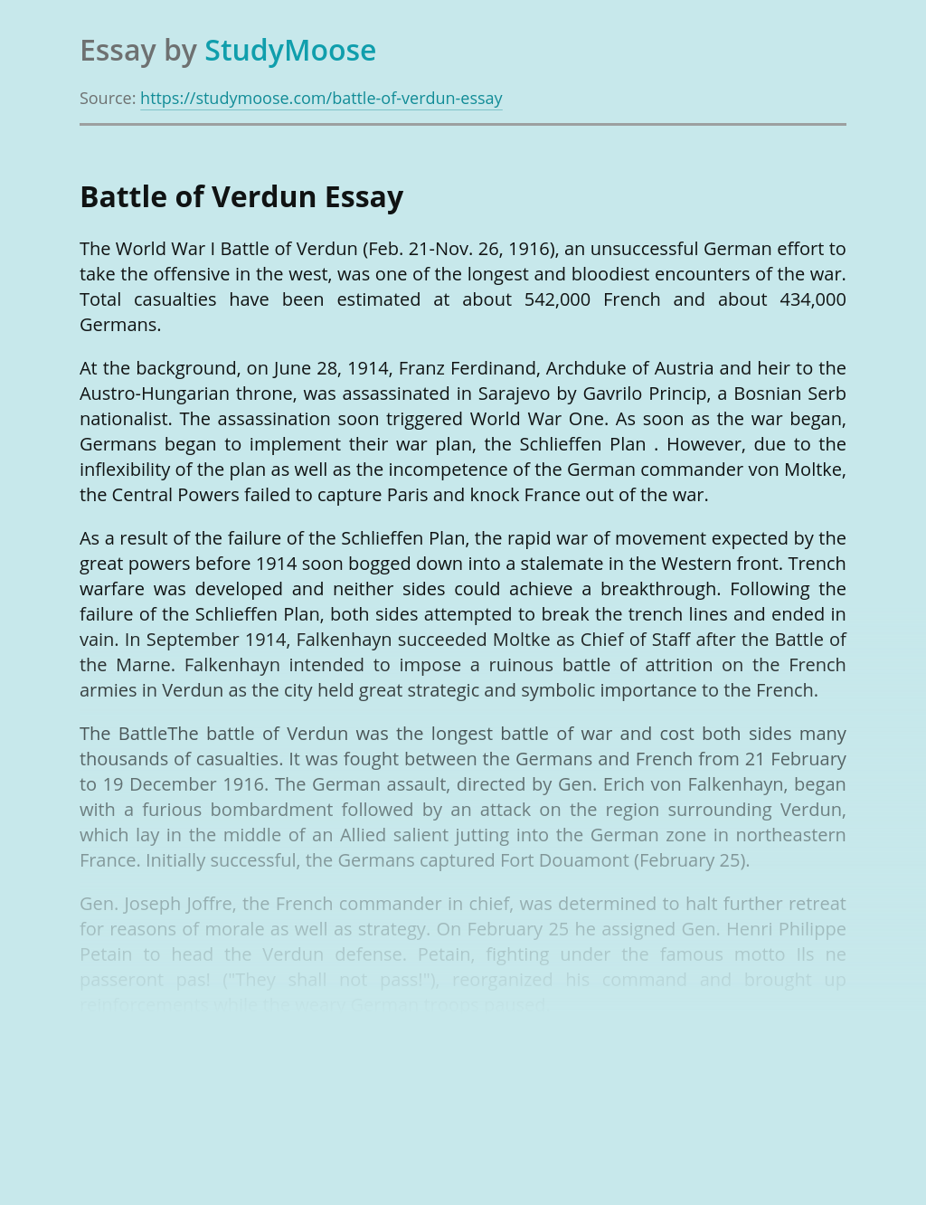 Battle of Verdun Analysis