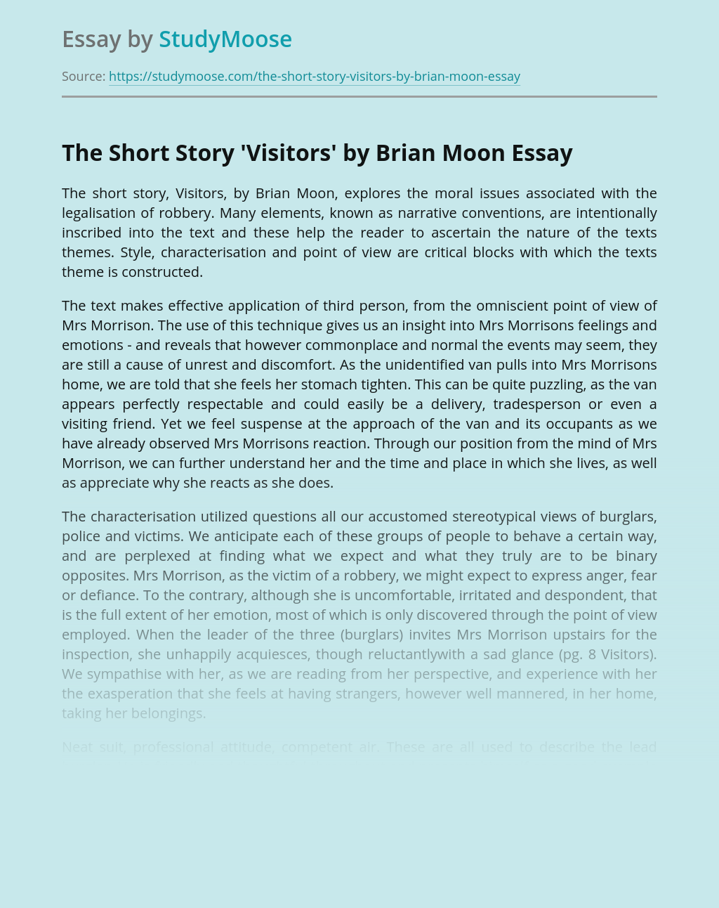 The Short Story 'Visitors' by Brian Moon