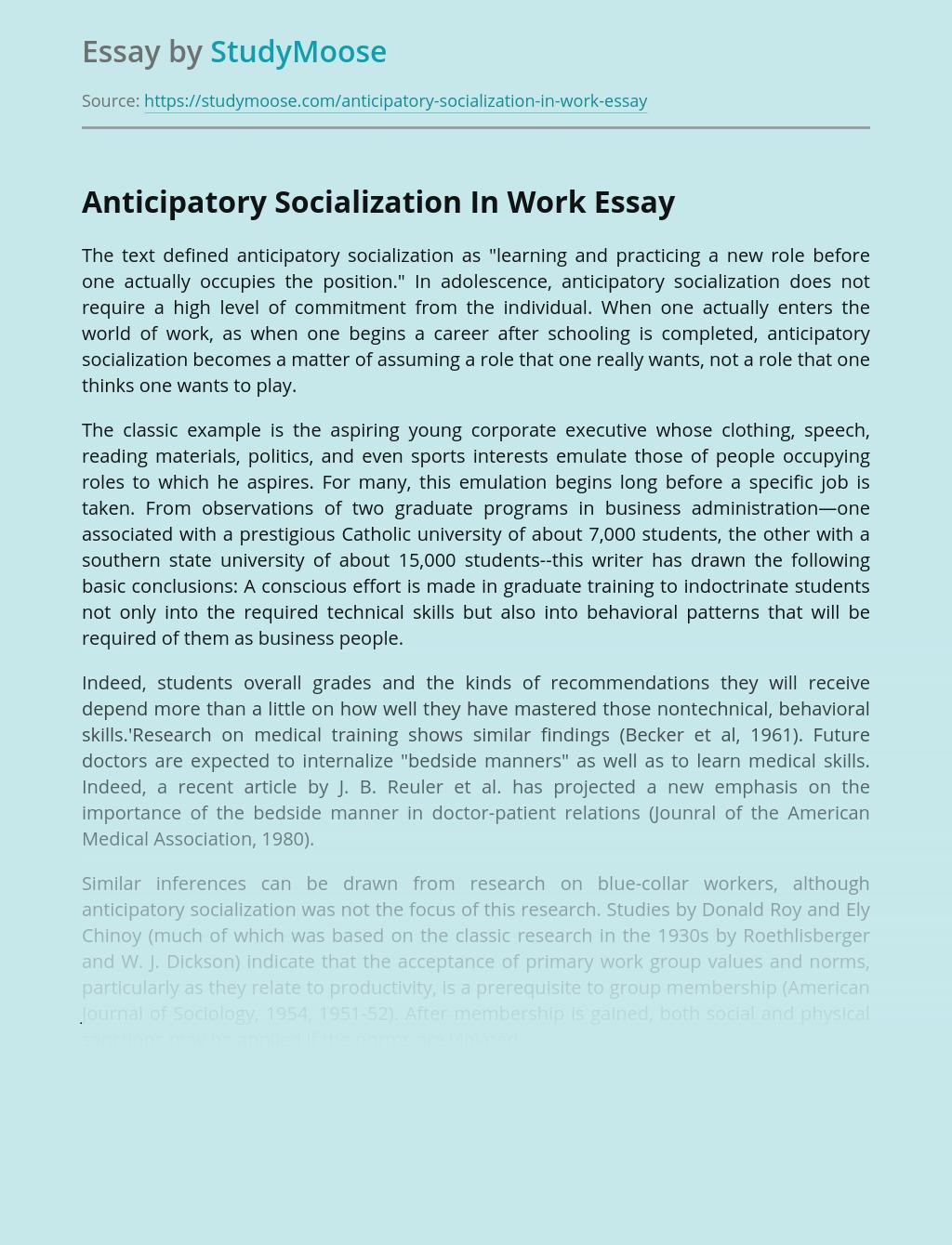 Anticipatory Socialization In Work