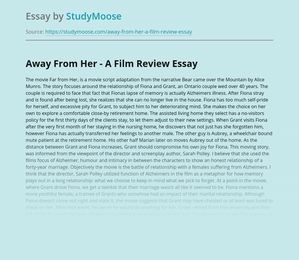 Away From Her - A Film Review