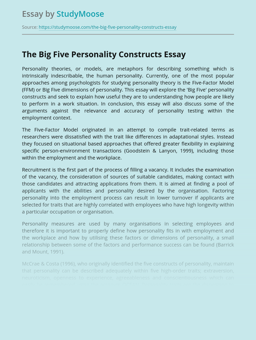 The Big Five Personality Constructs