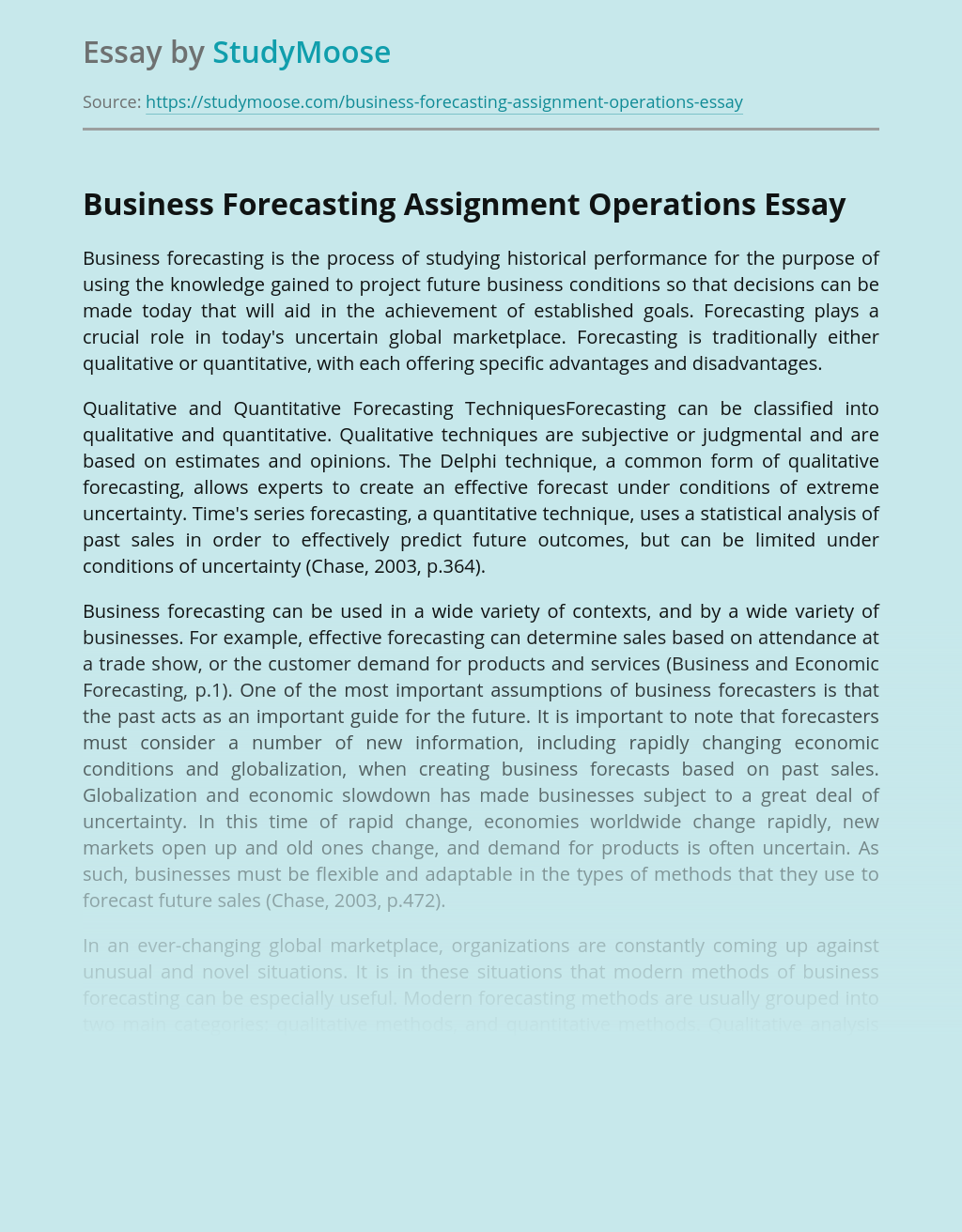 Business Forecasting Assignment Operations