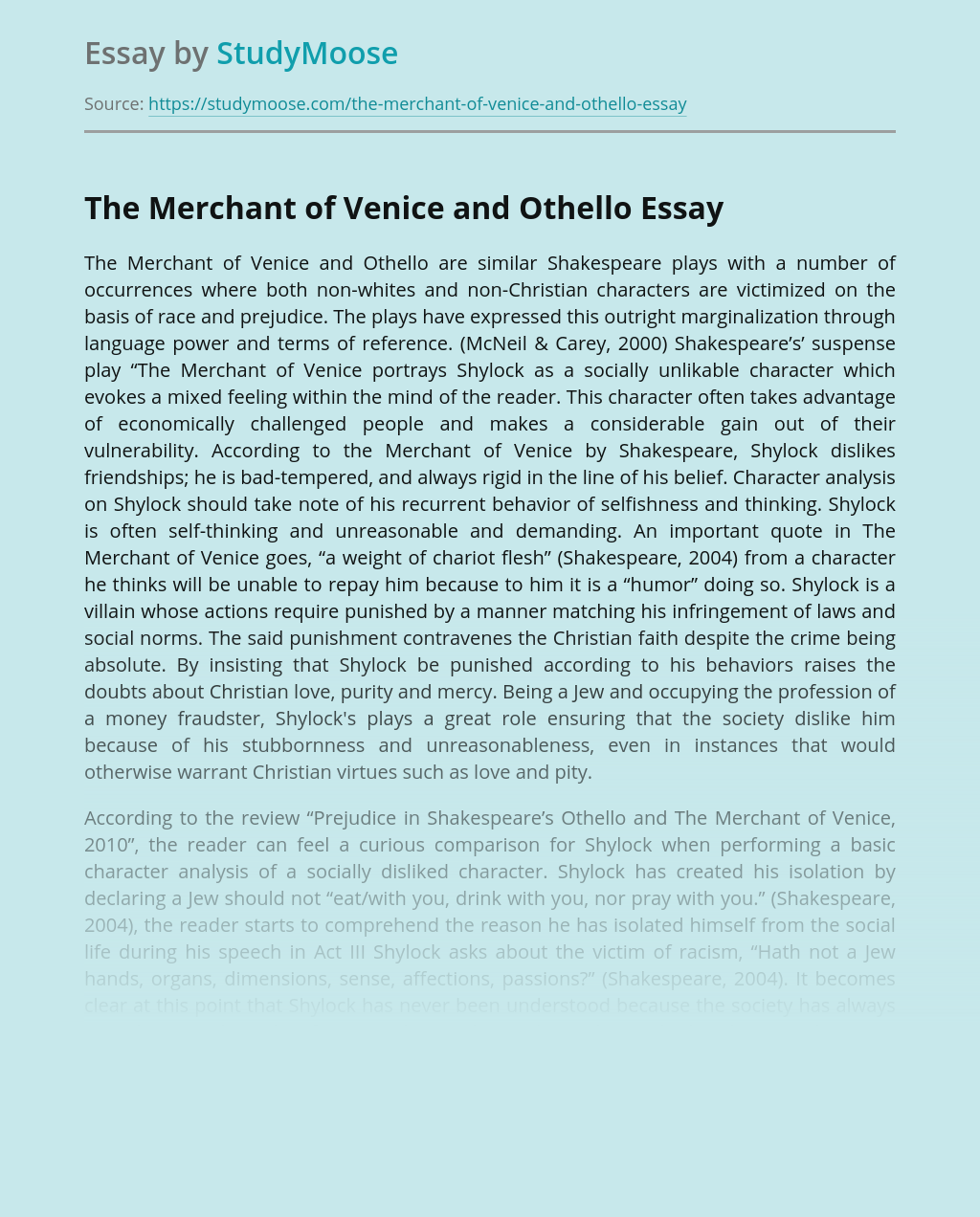 The Merchant of Venice and Othello