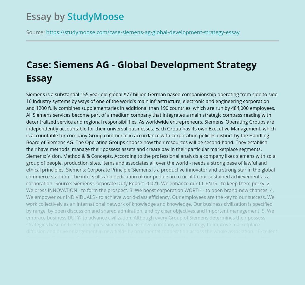 Case: Siemens AG - Global Development Strategy
