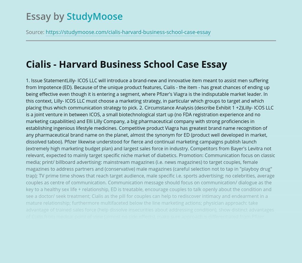 Cialis - Harvard Business School Case