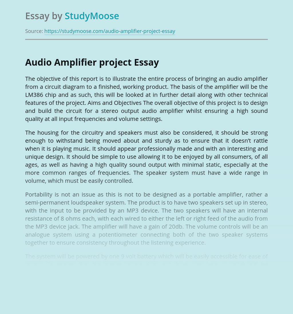Audio Amplifier for Electronics Project