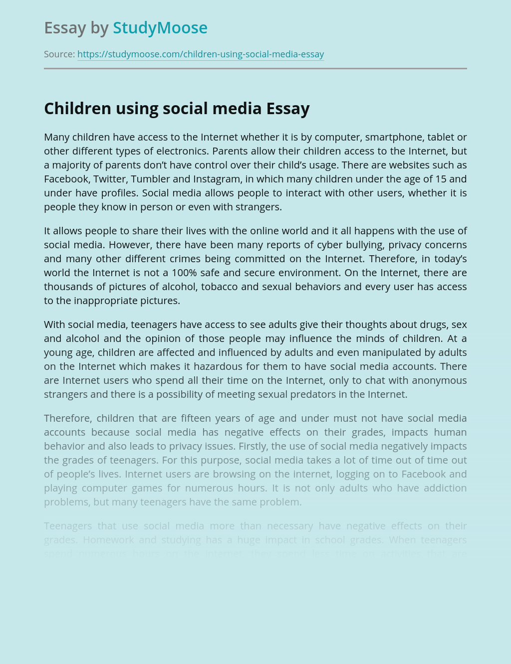 Children using social media