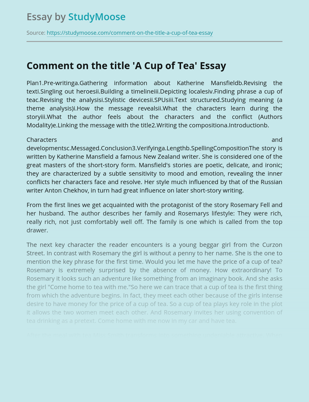 Comment on the title 'A Cup of Tea'