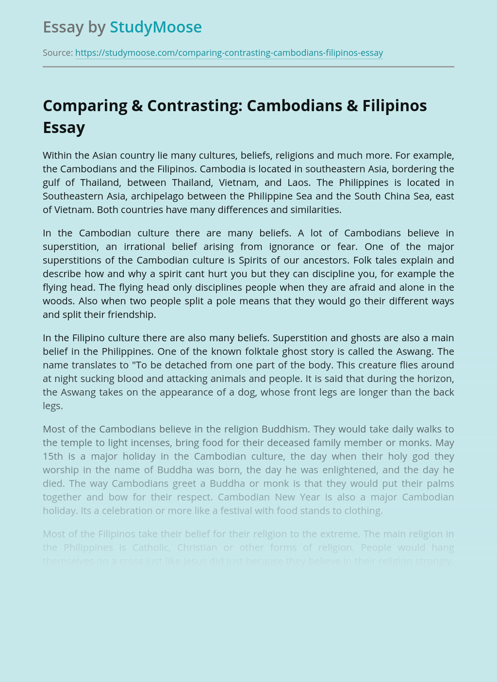 Comparing & Contrasting: Cambodians & Filipinos