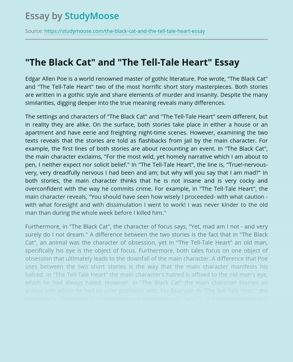 """""""The Black Cat"""" and """"The Tell-Tale Heart"""""""