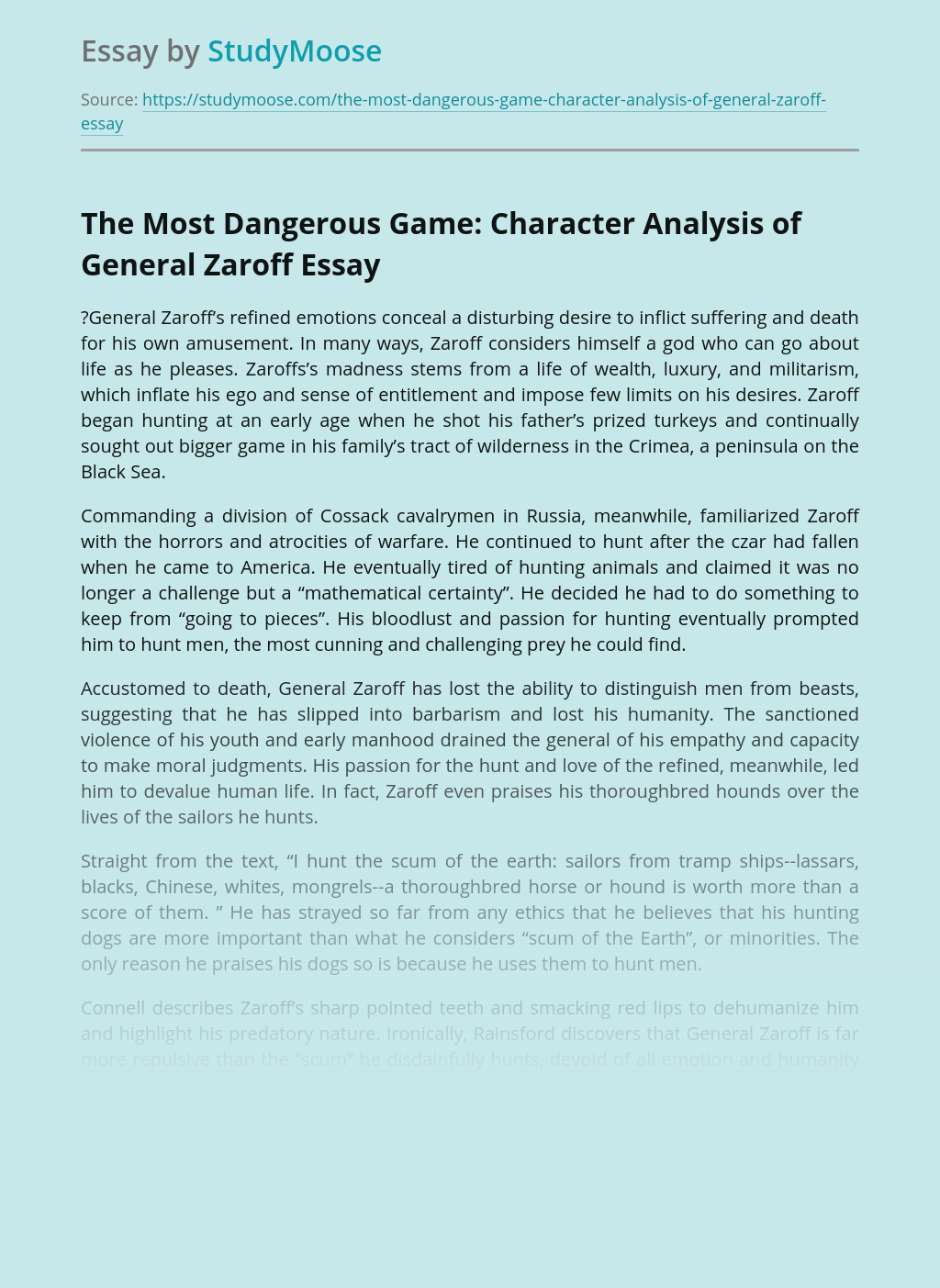 The Most Dangerous Game: Character Analysis of General Zaroff