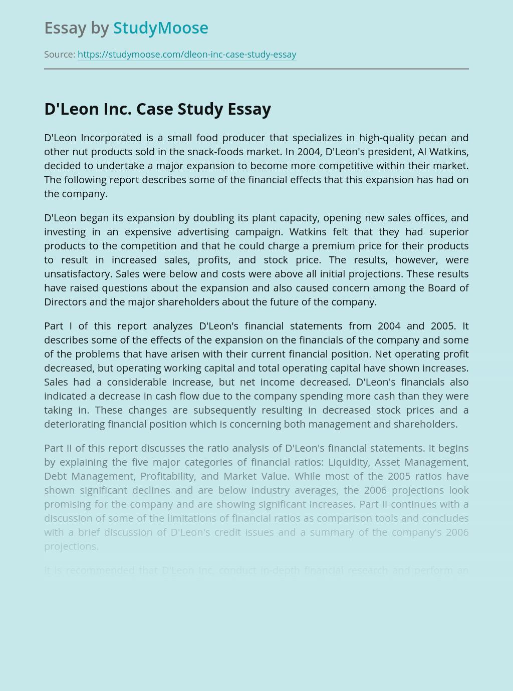 D'Leon Inc. Case Study