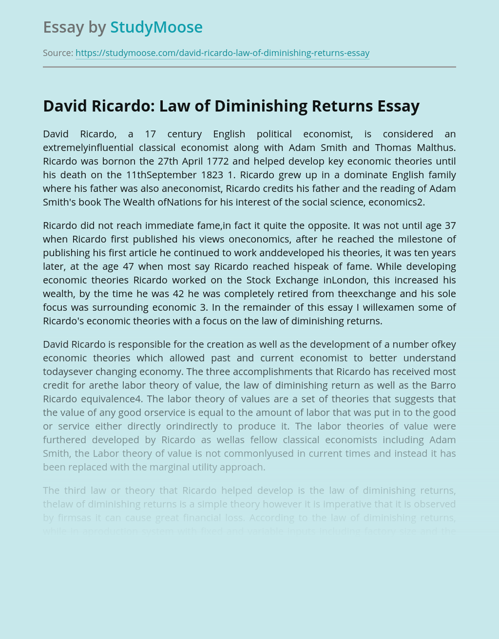 David Ricardo: Law of Diminishing Returns