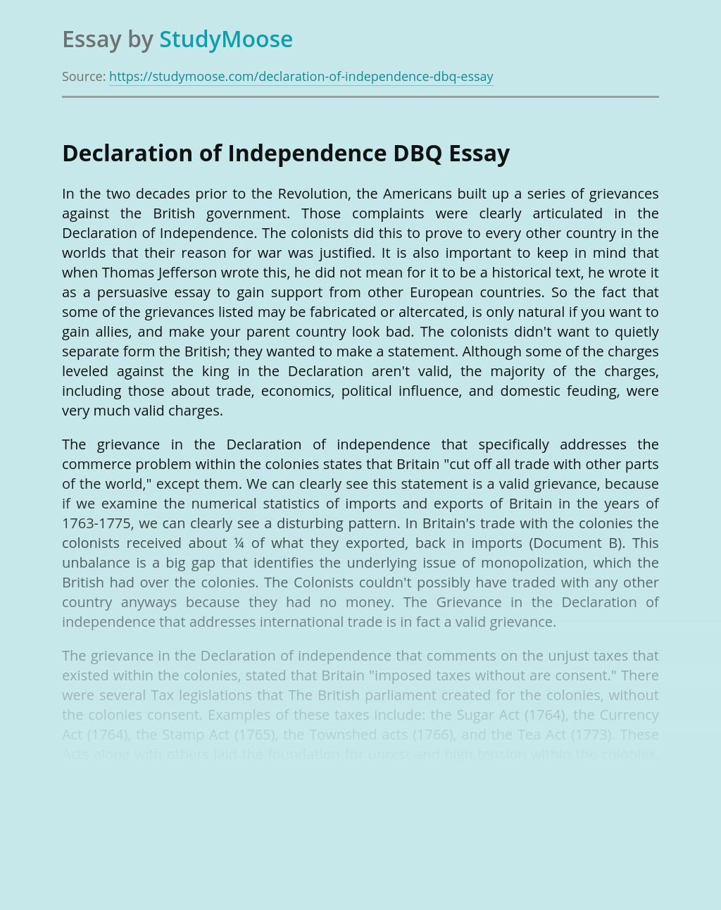 Declaration of Independence DBQ