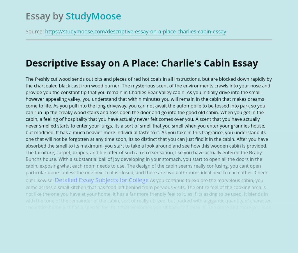 Descriptive Essay on A Place: Charlie's Cabin