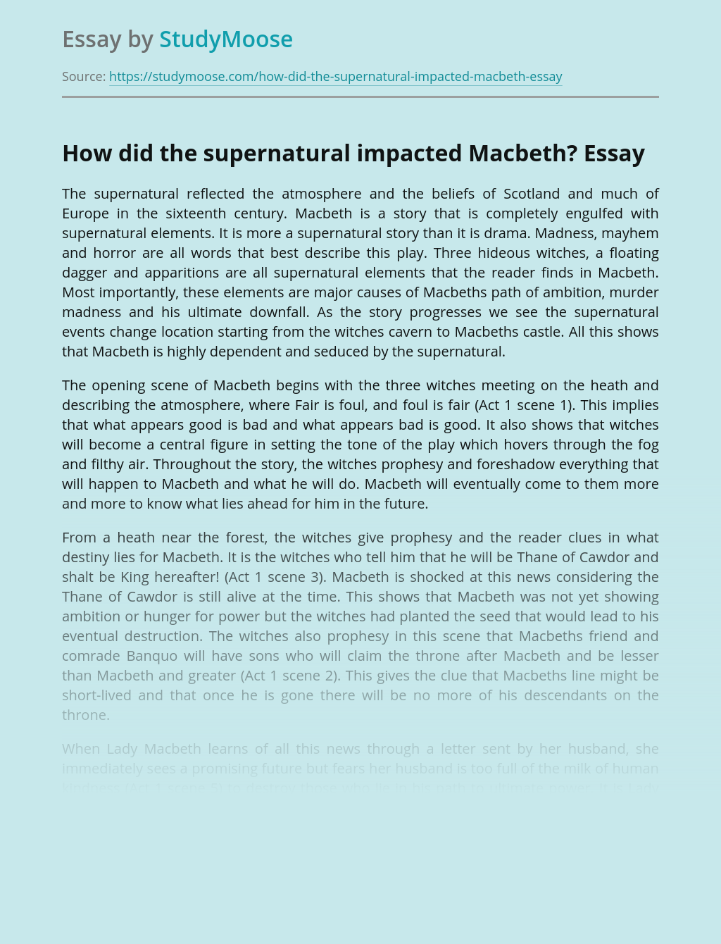 How did the supernatural impacted Macbeth?