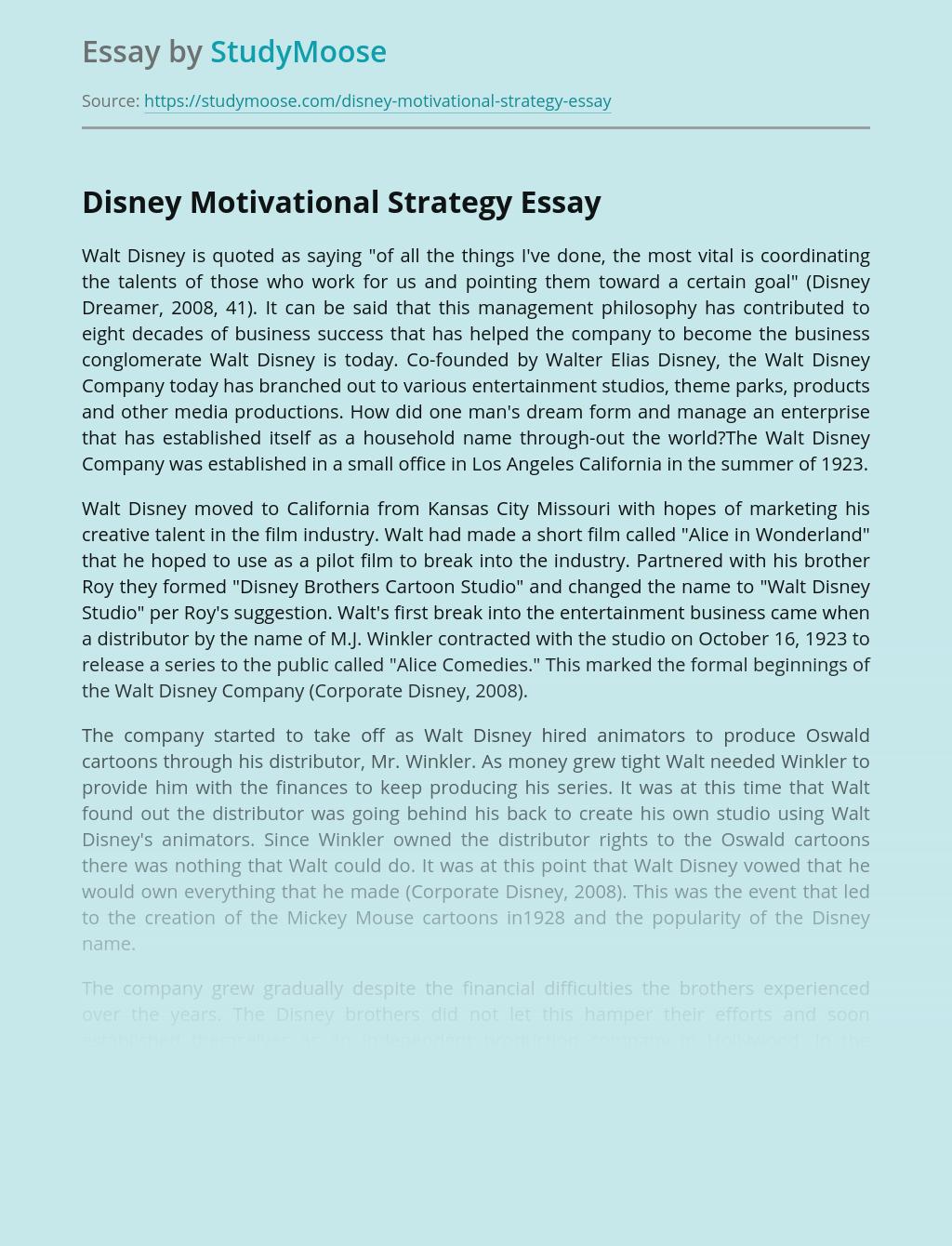 Disney Motivational Strategy