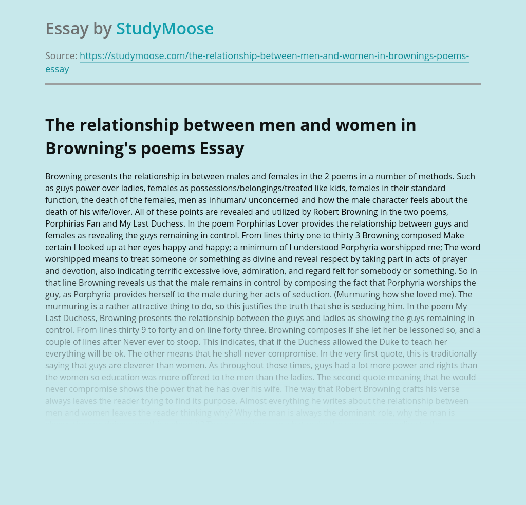 The relationship between men and women in Browning's poems