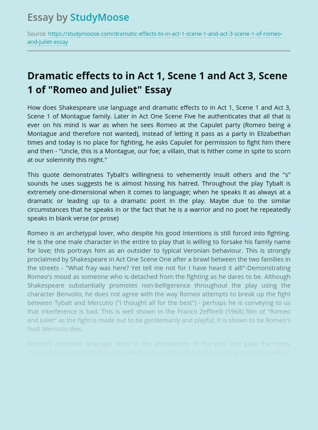 """Dramatic effects to in Act 1, Scene 1 and Act 3, Scene 1 of """"Romeo and Juliet"""""""
