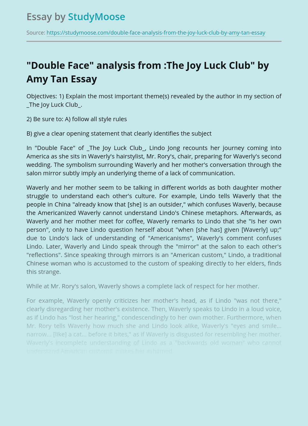 """""""Double Face"""" analysis from :The Joy Luck Club"""" by Amy Tan"""