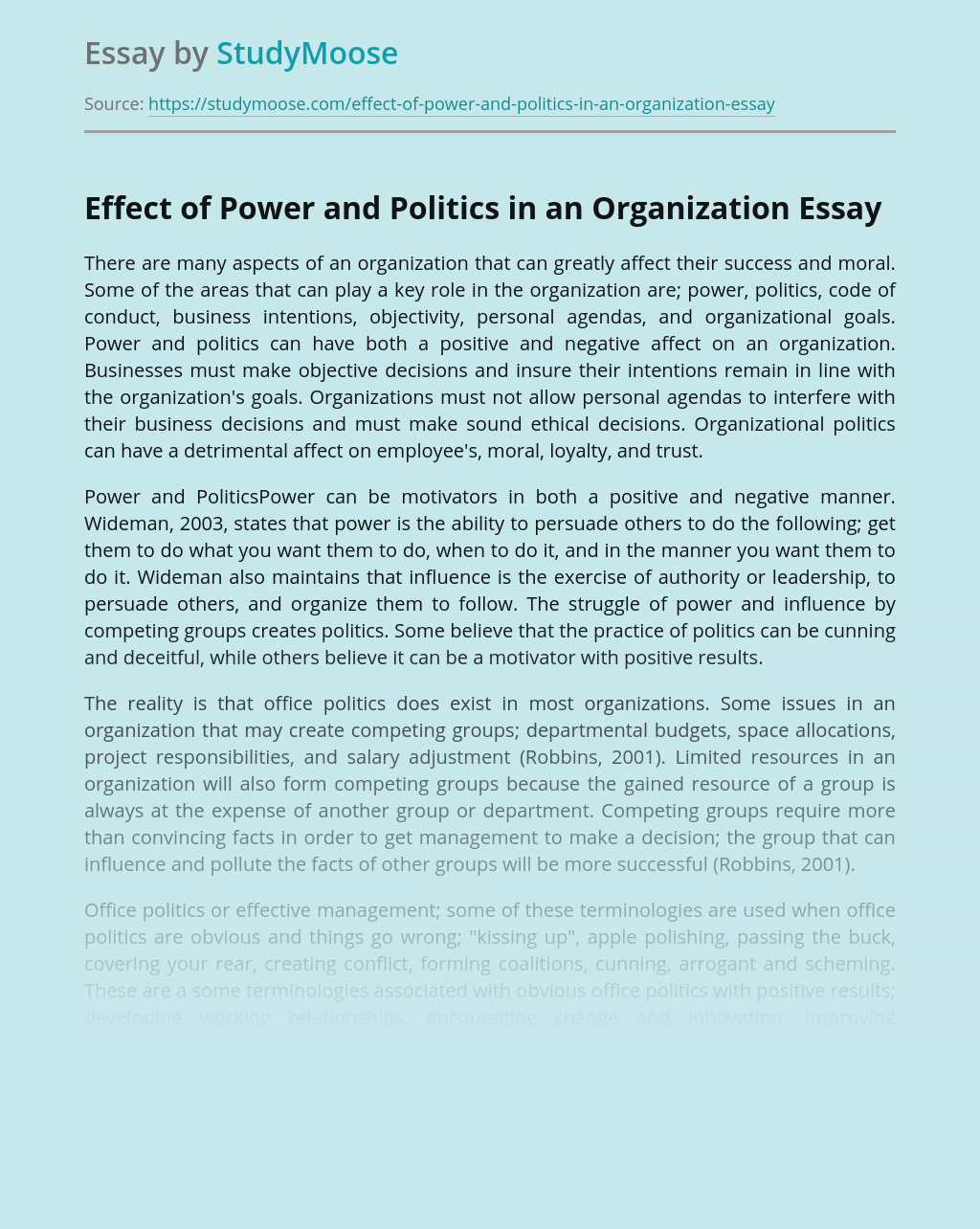 Effect of Power and Politics in an Organization