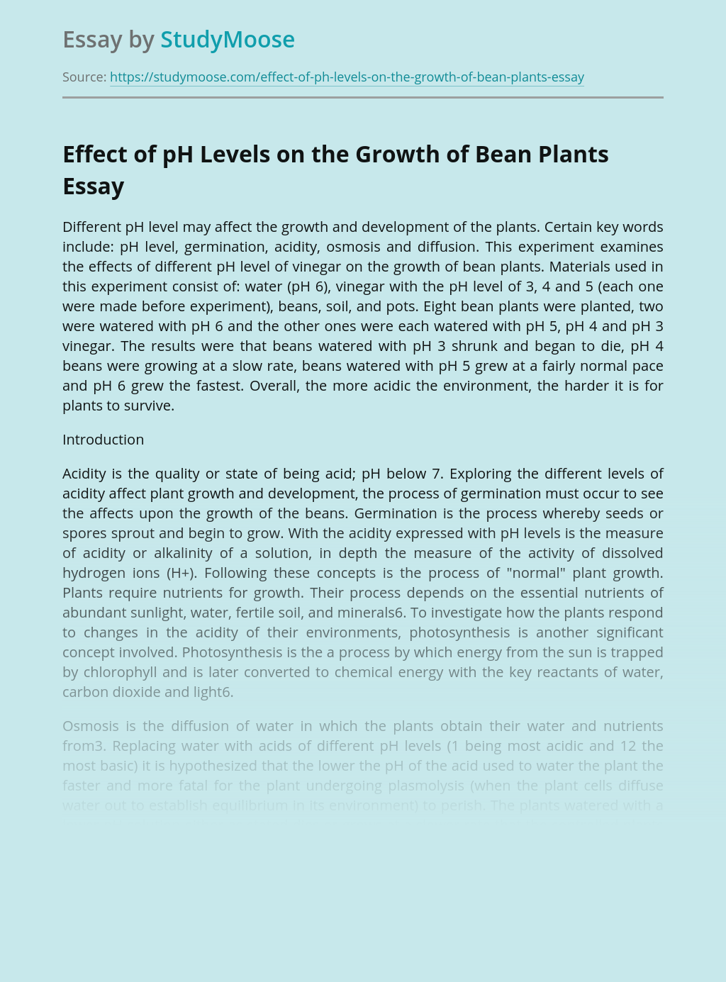 Effect of pH Levels on the Growth of Bean Plants