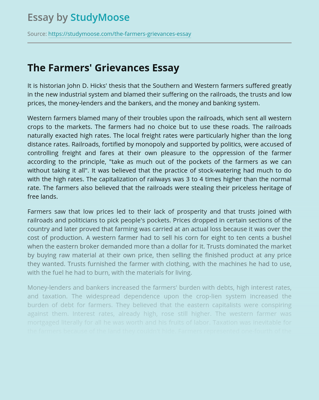 Industrial Revolution and The Farmers' Grievances