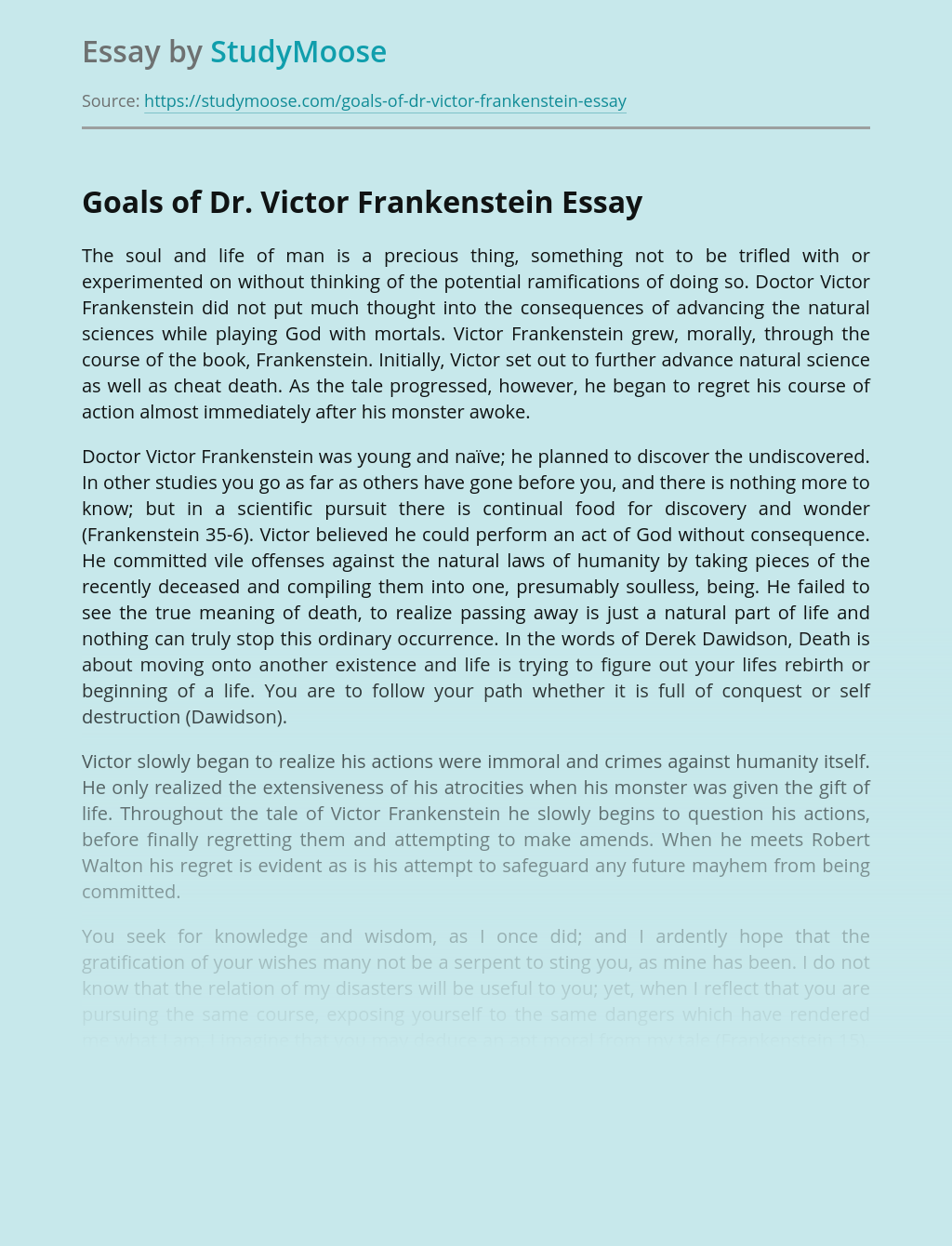 Goals of Dr. Victor Frankenstein