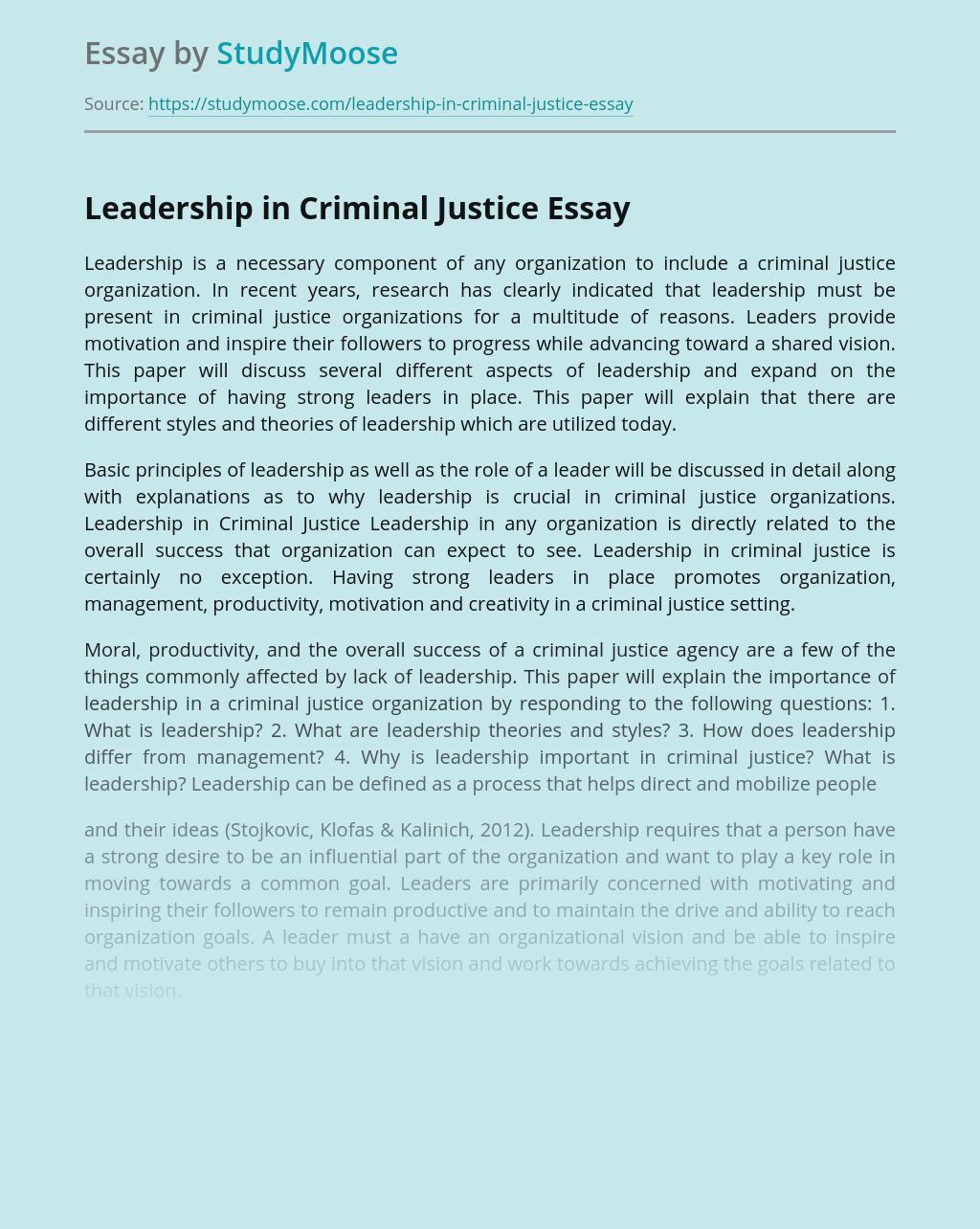 Leadership in Criminal Justice