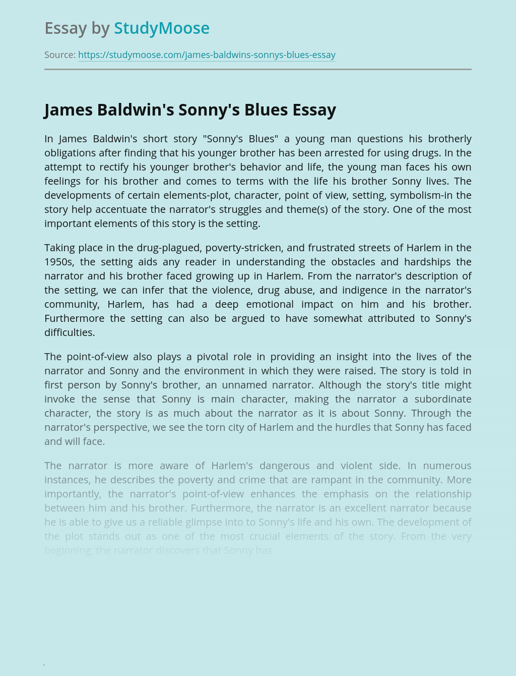 Sonny's Blues by James Baldwin