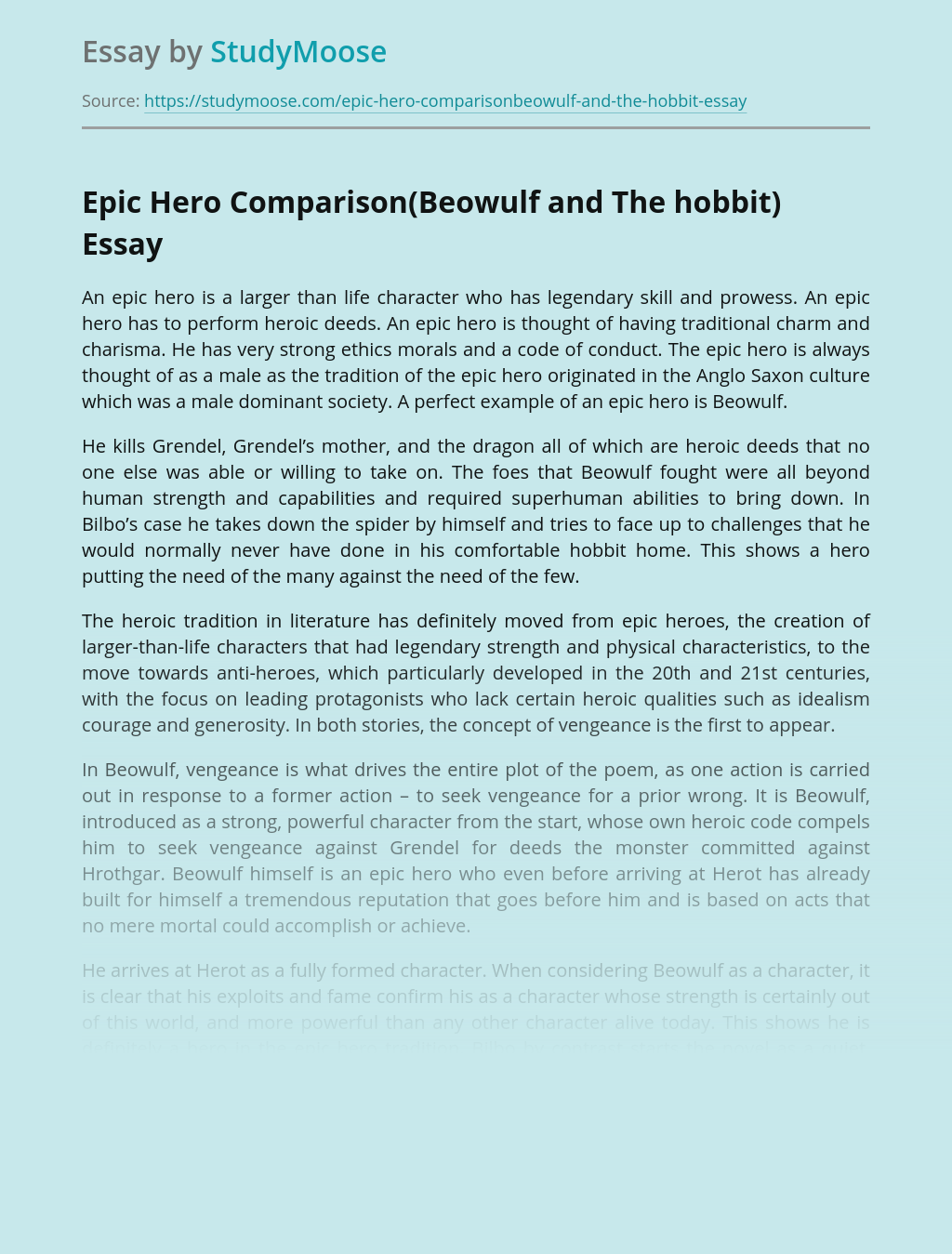 Epic Hero Comparison(Beowulf and The hobbit)