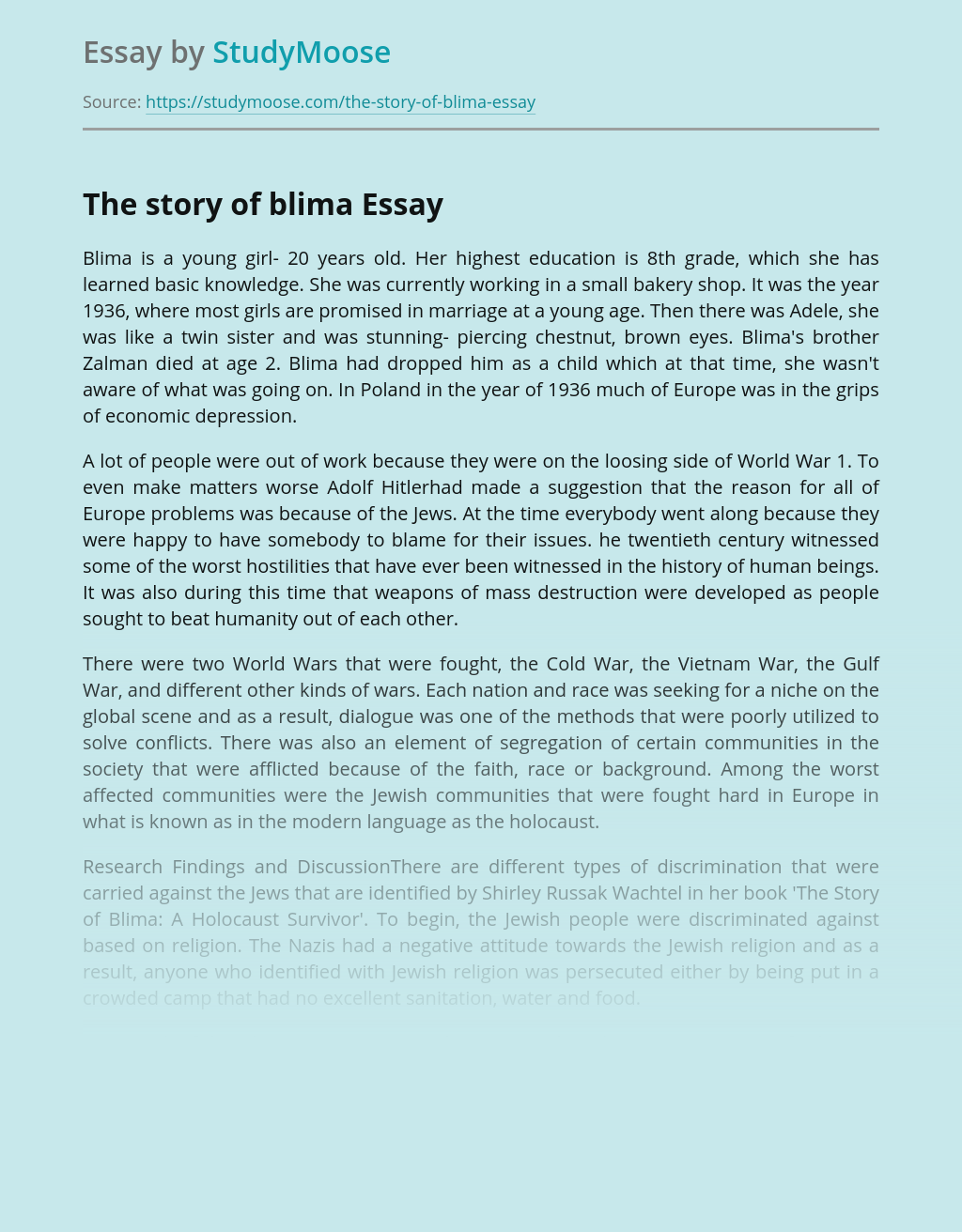 Religious Discrimination in The story of Blima