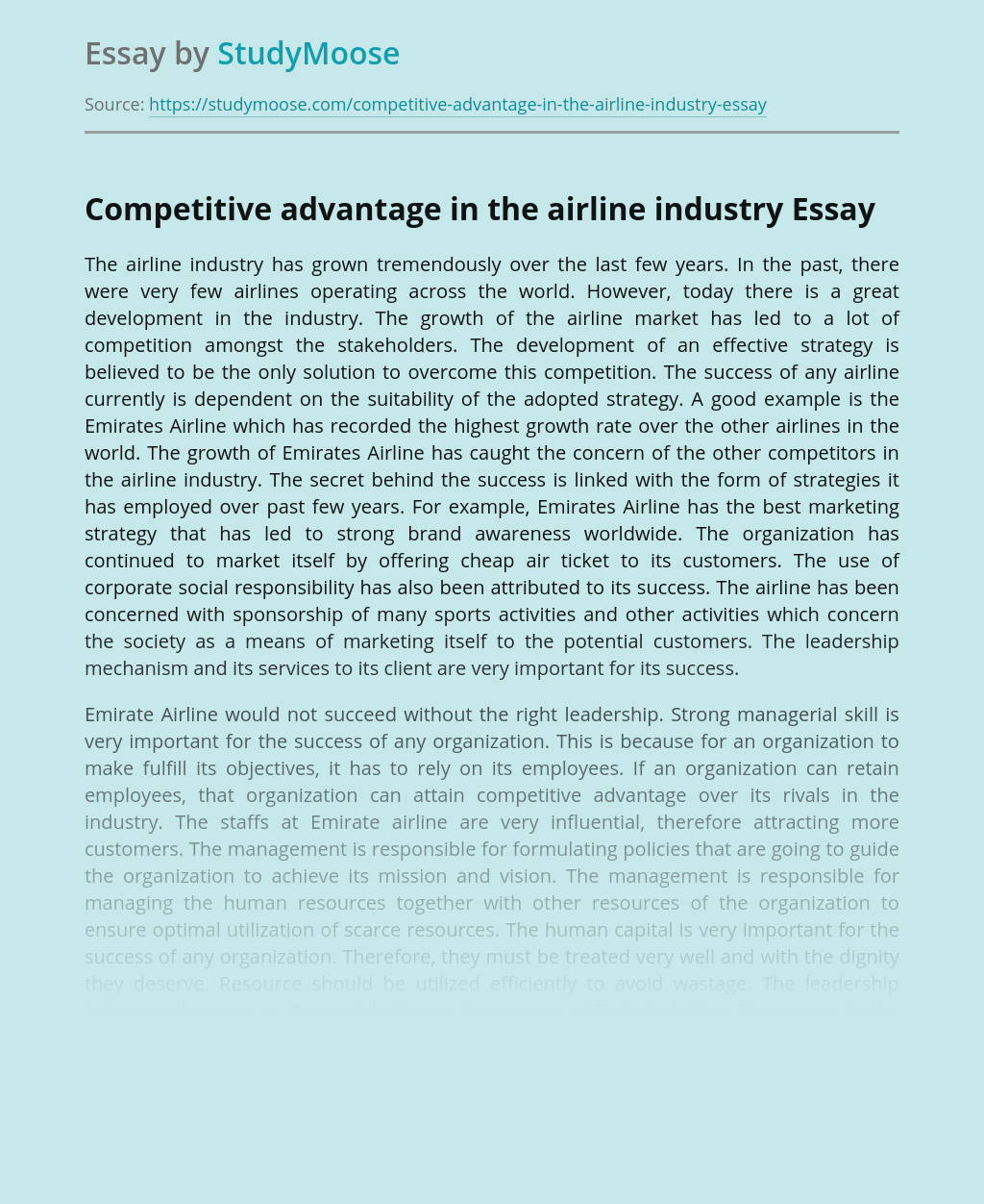 Competitive advantage in the airline industry