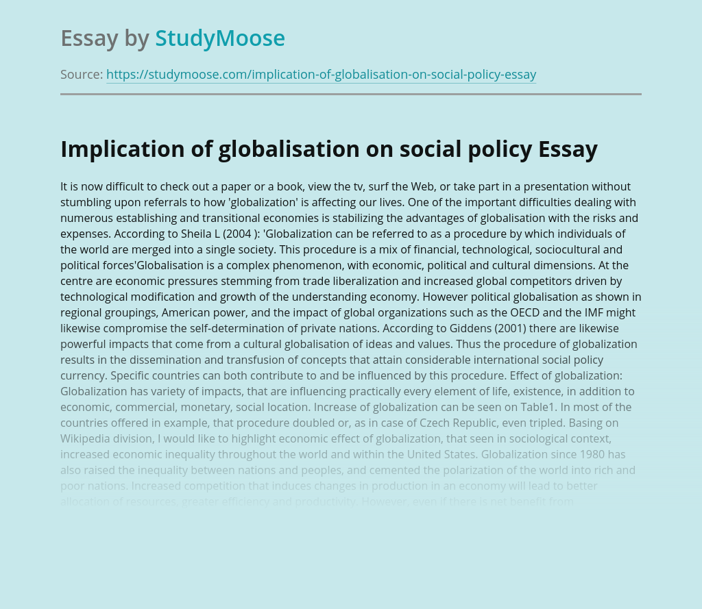 Implication of globalisation on social policy