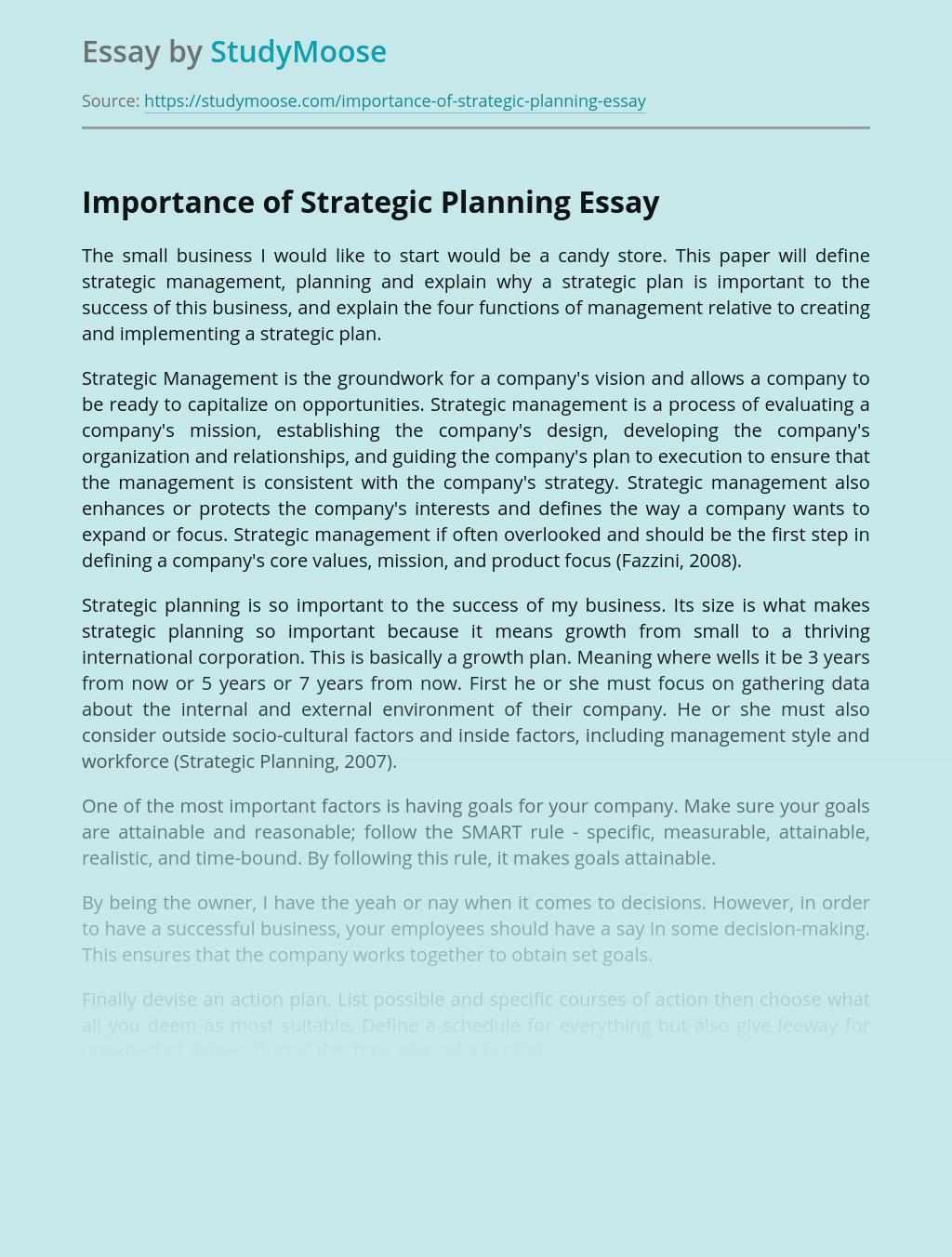 Importance of Strategic Planning