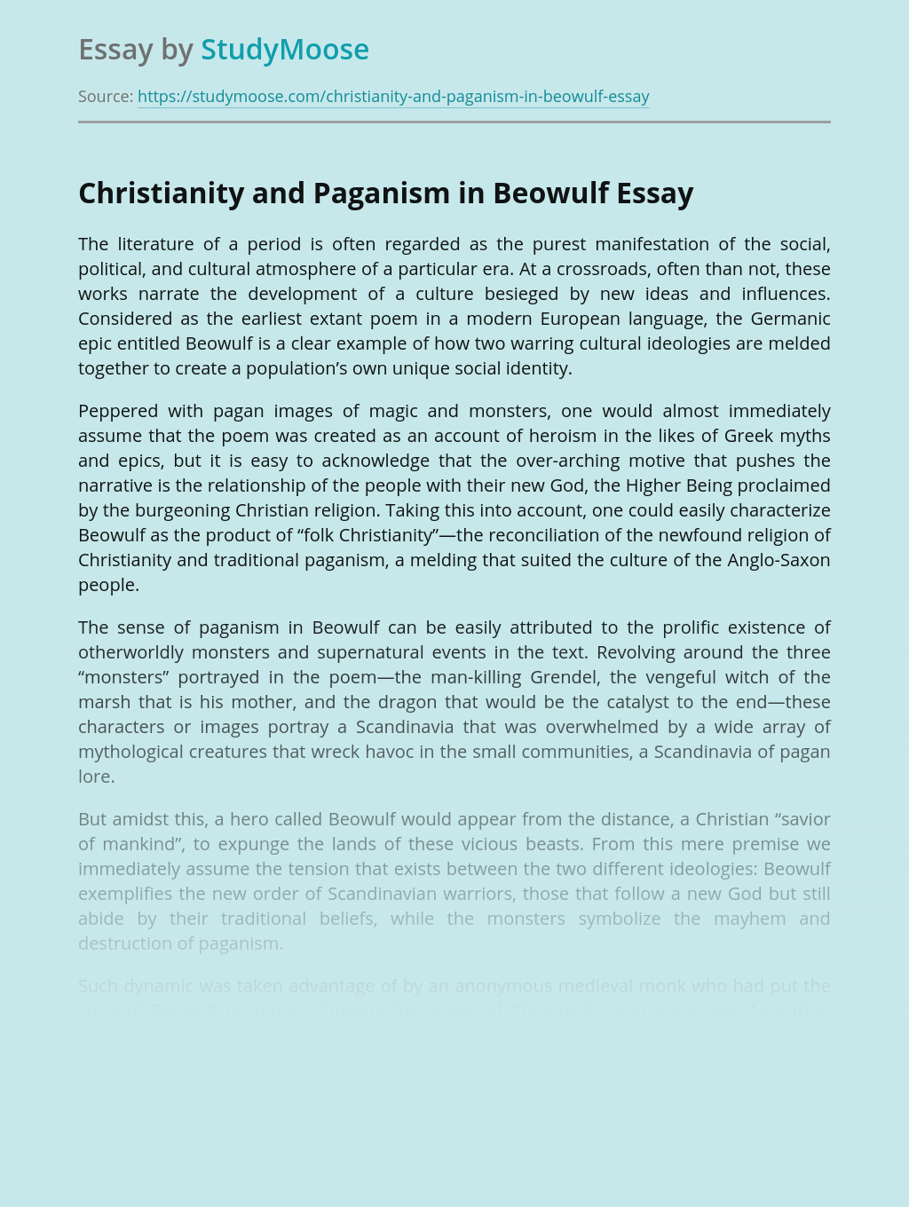 Christianity and Paganism in Beowulf