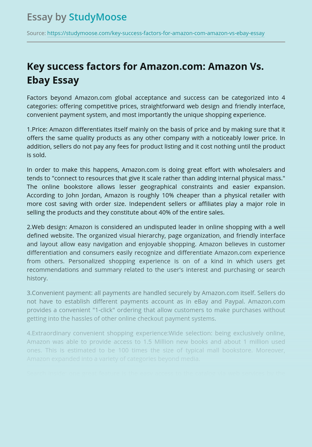 Key success factors for Amazon.com: Amazon Vs. Ebay