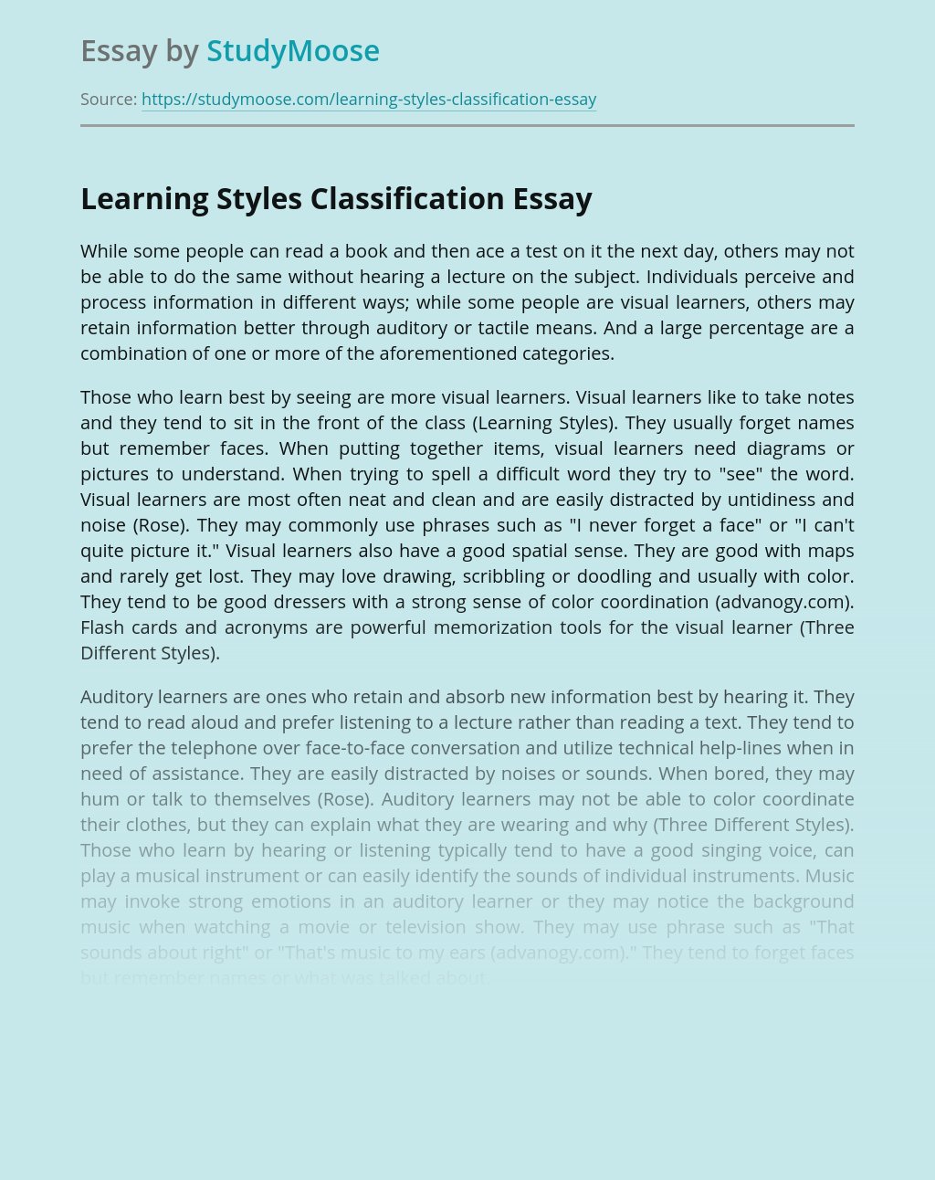 Learning Styles Classification