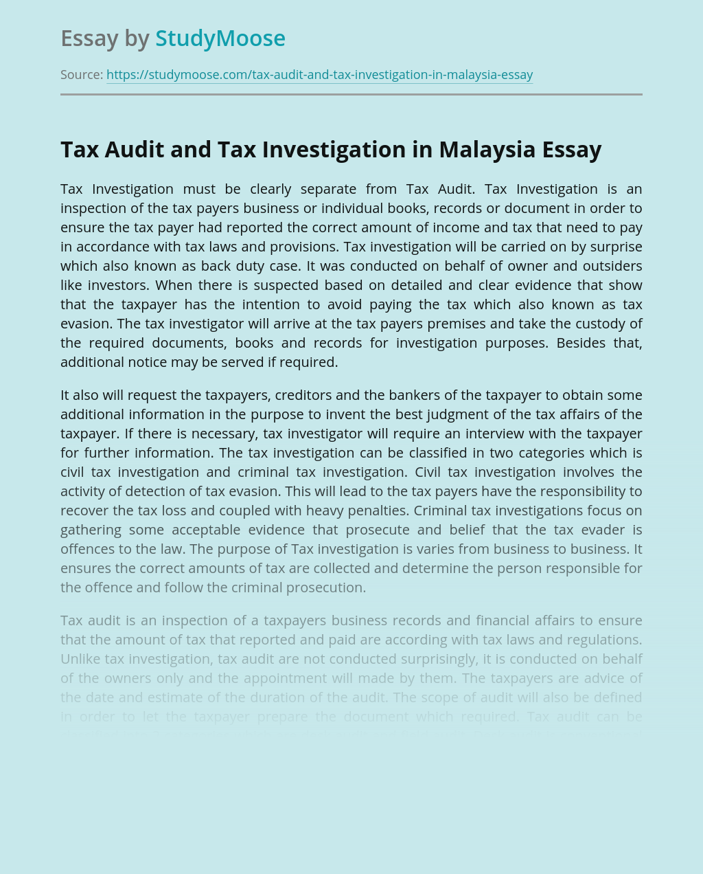 Tax Audit and Tax Investigation in Malaysia