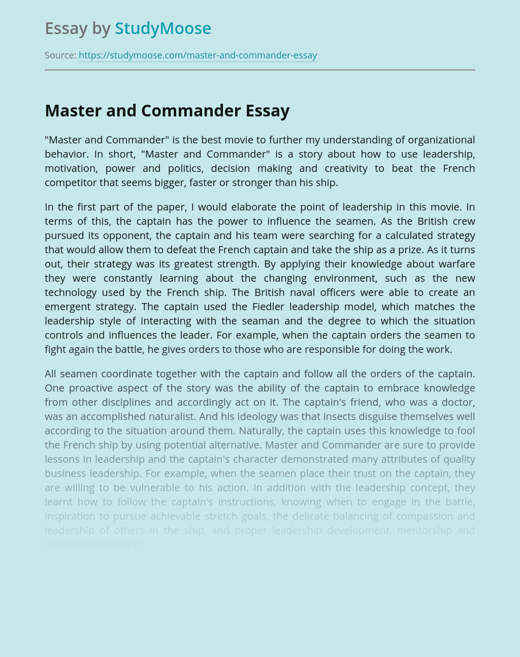 """Master and Commander"" about organizational behavior"