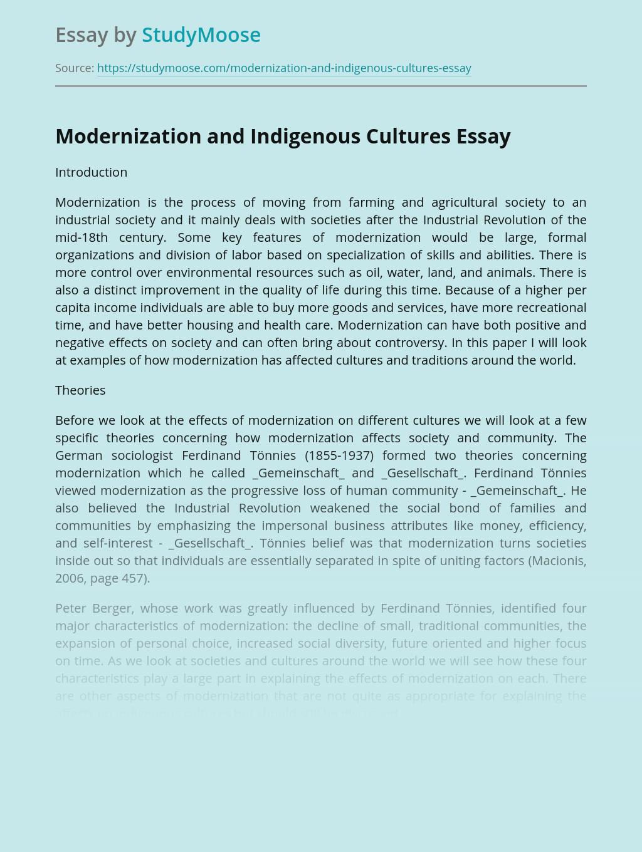 Modernization and Indigenous Cultures