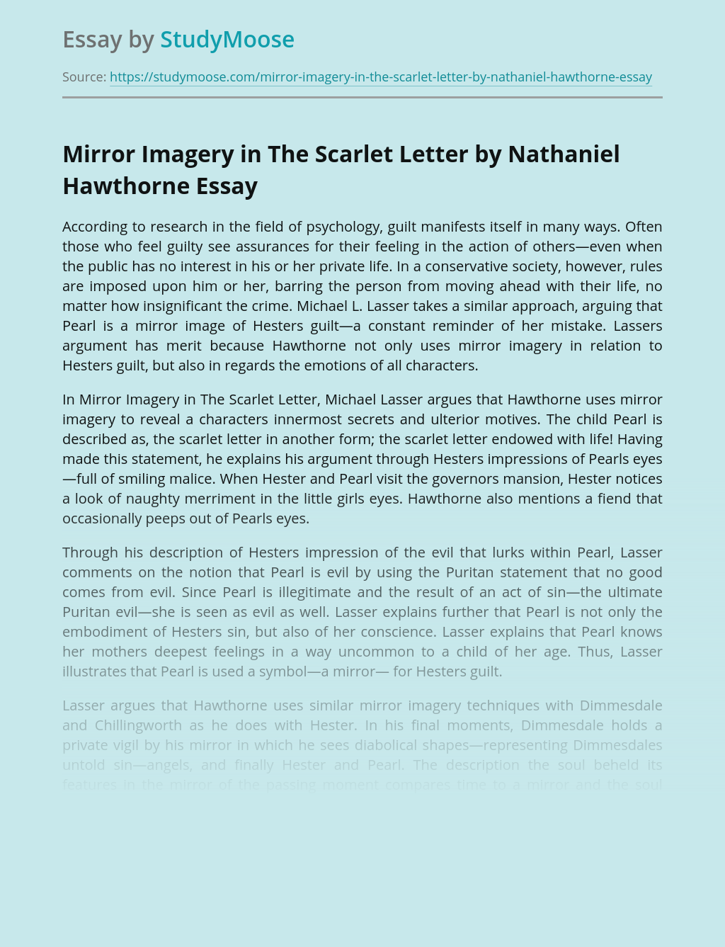 Mirror Imagery in The Scarlet Letter by Nathaniel Hawthorne