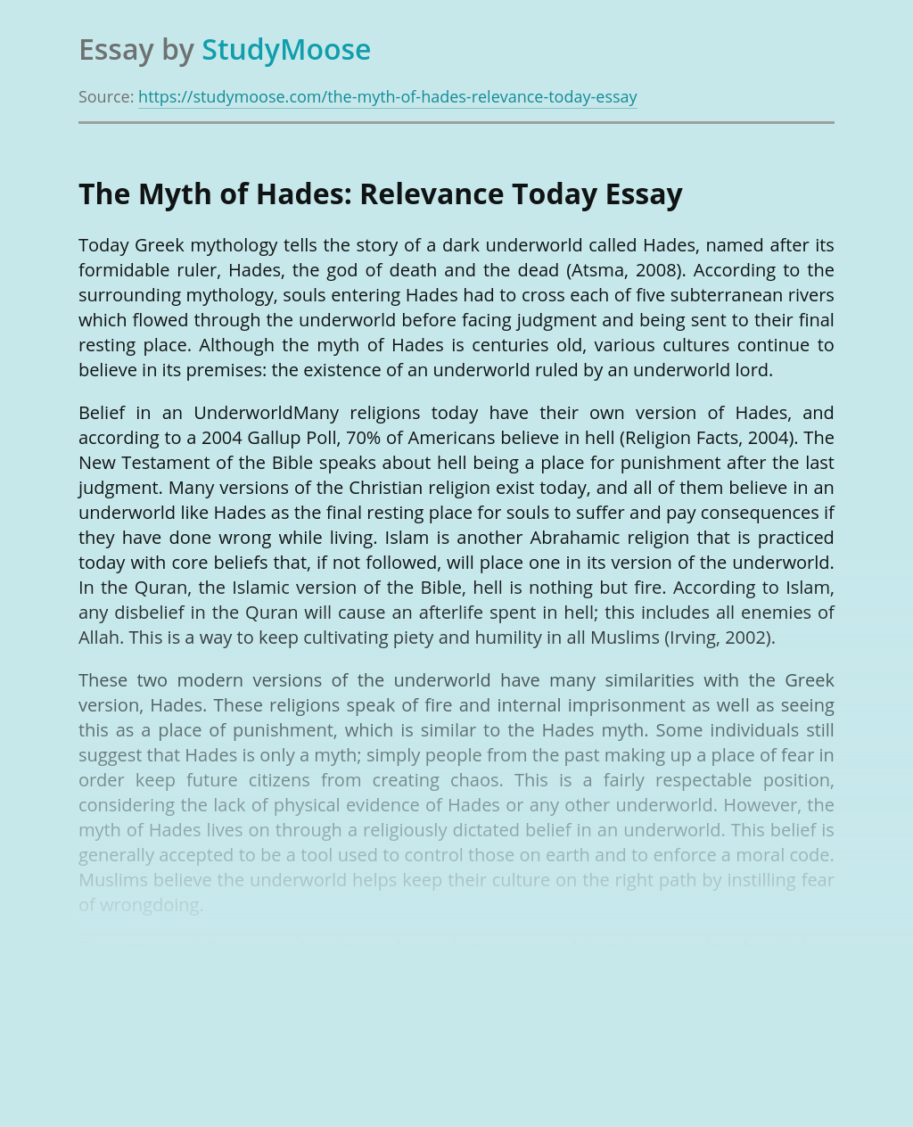 The Myth of Hades: Relevance Today