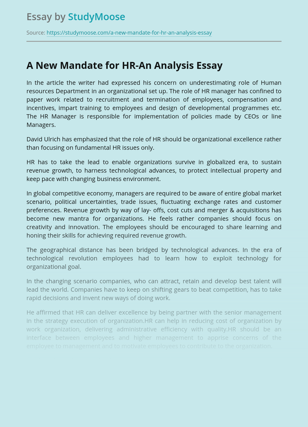 A New Mandate for HR-An Analysis