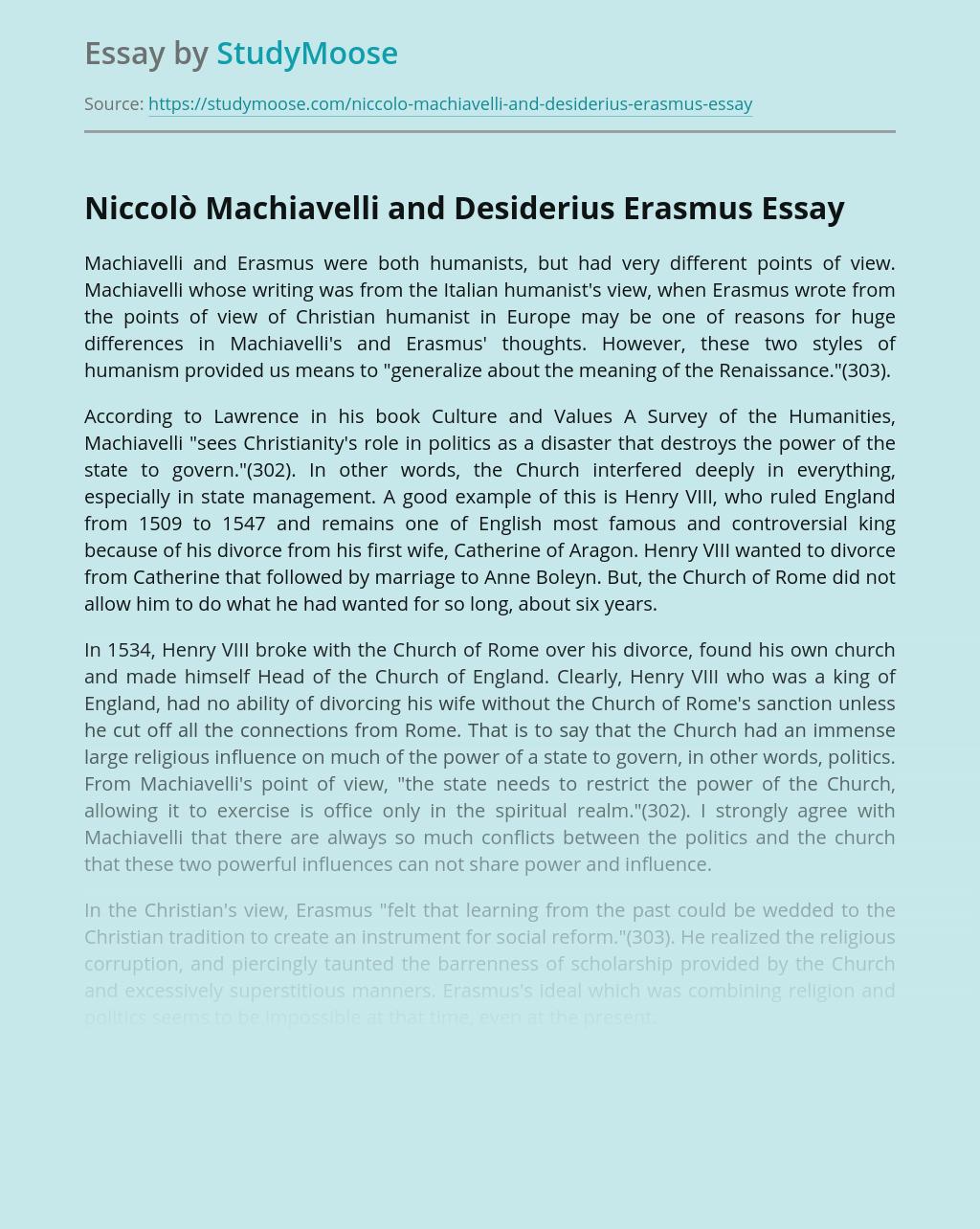 Niccolò Machiavelli and Desiderius Erasmus