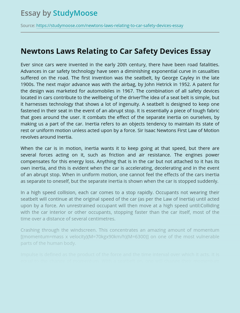 Newtons Laws Relating to Car Safety Devices